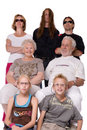 Studio family portrait of a crazy bunch Royalty Free Stock Photos