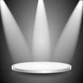Studio i spotlights scene iluminujący promieniami searchli Zdjęcia Royalty Free