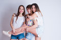 Studio lifestyle portrait of three best friends Royalty Free Stock Photo