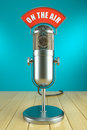 Studio microphone stand. On the AIR Royalty Free Stock Photo