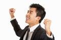 Studio-Portrait des chinesischen Geschäftsmannes feiernd Stockfotografie