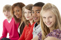 Studio Portrait Of Five Teenage Friends Standing I Royalty Free Stock Photo