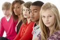 Studio Portrait Of Five Teenage Friends Standing I Royalty Free Stock Photography