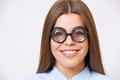 Studio portrait of funny young business woman in nerd glasses Royalty Free Stock Photo