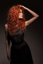 Redhead woman with long hair Royalty Free Stock Photo