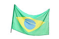 Studio shot of a brazilian flag waving Stock Images