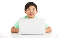 Studio Shot Of Chinese Boy With Laptop Stock Image