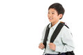 Studio Shot Of Chinese Boy In School Uniform Stock Images