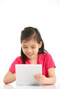 Studio Shot Of Chinese Girl With Digital Tablet Stock Photos