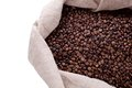 Studio Shot of Coffee Beans in a Bag Stock Photos
