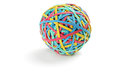 Studio shot of a colorful rubber band ball isolated on white background Royalty Free Stock Images