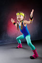 Studio shot little girl fitness exercise Royalty Free Stock Photos