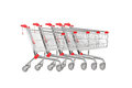 A studio shot many shopping carts isolated on white background Stock Photography