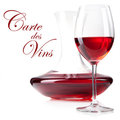 Studio shot of red wine glass and decanter Stock Image