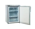 Studio shot small stainless steel refrigerator isolated on white Royalty Free Stock Photo