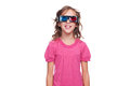 Studio shot of smiley girl in 3d glasses Royalty Free Stock Images