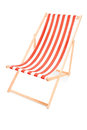 Studio shot of a sun lounger with orange stripes on white background Stock Photography