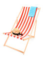 Studio shot of a sun lounger with towel hat and sunglasses isolated on white background Stock Photo
