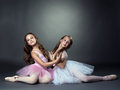 Studio shot of two graceful ballet dancers on gray background Stock Images
