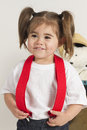 Studio slaes girl young plays dressup in the Stock Photography