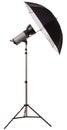 Studio strobe light flash with umbrella isolated Royalty Free Stock Photo