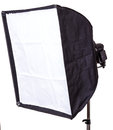 Studio strobe with softbox isolated on the white Stock Photo