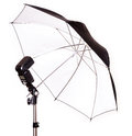 Studio strobe with umbrella isolated on the white Royalty Free Stock Photography