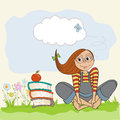 Studious girl sitting barefoot in the grass grasss illustration Royalty Free Stock Images