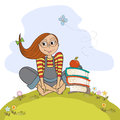 Studious girl sitting barefoot in the grass grasss illustration Royalty Free Stock Photography