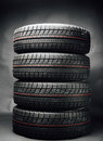 Studless winter tires stack Royalty Free Stock Photo