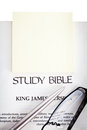 Study Bible with yellow notepad Stock Images