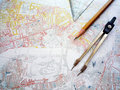 Study of city planning map Royalty Free Stock Photo
