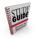 Study guide book cover preparing for exam a success on an a class Stock Photos