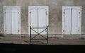 A study of an old wooden doors, shuttered