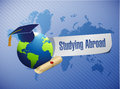 Studying abroad globe sign world map illustration design graphic Royalty Free Stock Image