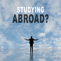 Studying abroad text on the sky Royalty Free Stock Photos