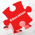 Studying concept education on puzzle background red pieces d rendering Royalty Free Stock Photography