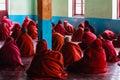 Studying nyaung shwe in myanmar burmar group of little novice is and praying Stock Image