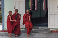 Studying nyaung shwe in myanmar burmar group of little novice prepare to study at monastery Stock Photos