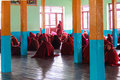 Studying nyaung shwe in myanmar burmar little novice is and praying at monastry Stock Photos