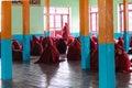 Studying nyaung shwe in myanmar burmar little novice is and praying at monastry Stock Photos