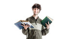 Studying philosophy an handsome student with some books isolated over a white background Royalty Free Stock Images