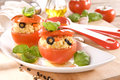 Stuff tomatoes tasty with couscous Royalty Free Stock Image