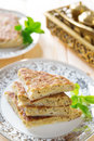 Stuffed arabic bread mutabbaq or murtabak is a also known as fatatari in some parts of middle east Royalty Free Stock Images