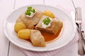 Stuffed cabbage rolls with potato, sour cream Royalty Free Stock Photo