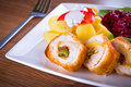 Stuffed chicken rolls with sundried tomatoes and jalapeno peppers Royalty Free Stock Image