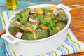 Stuffed collard greens green rolls macro selective focus Royalty Free Stock Photo