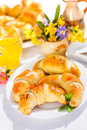 Stuffed crescent rolls on breakfast table Royalty Free Stock Photos