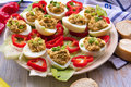 Stuffed eggs with tuna peppers and bread Stock Photos