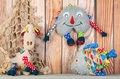 Stuffed funny toys on wooden background Royalty Free Stock Photo